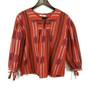 Madewell Womens Ikat Peasant Popover Top Red
